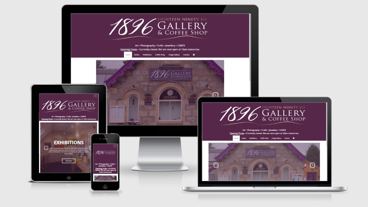 1896gallery.com home page responsive view
